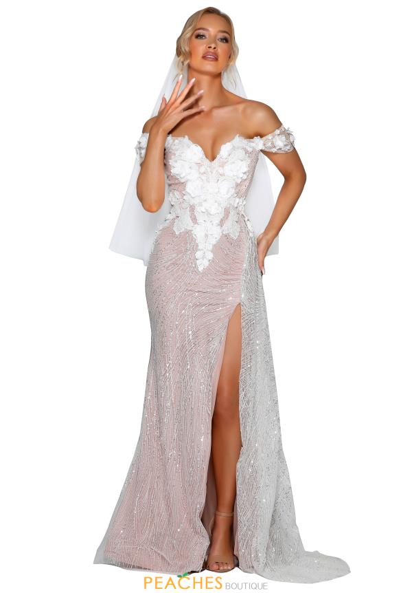Portia and Scarlett Long Nude Prom Dress PSB6800