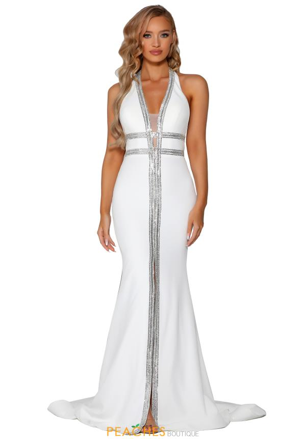 Portia and Scarlett Long Ivory Prom Dress PSB6803