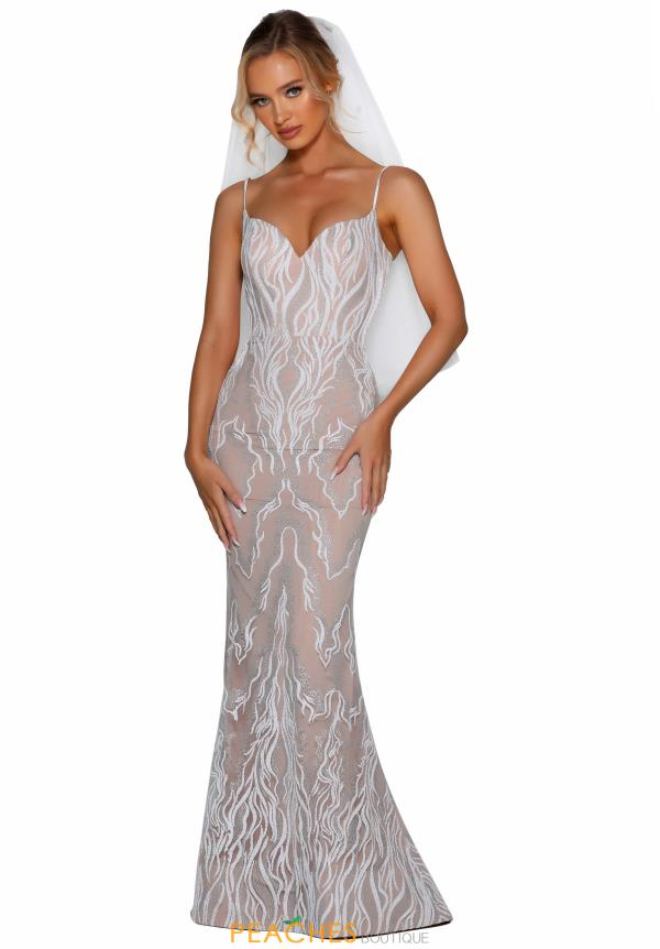 Portia and Scarlett Ivory Fitted Prom Dress PSB6809