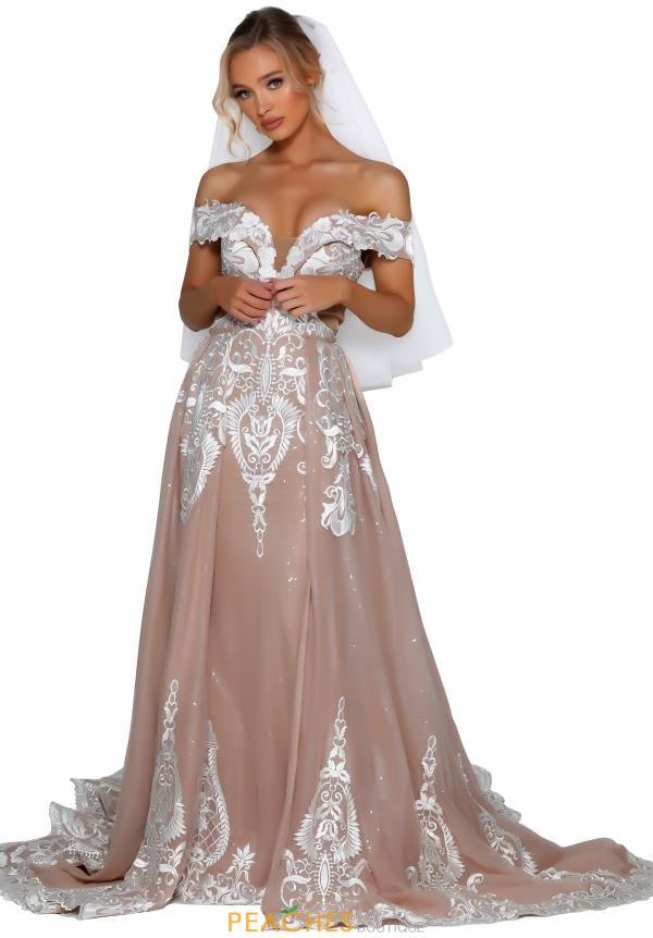 Portia and Scarlett Long Ivory Nude Prom Dress PSB6811S