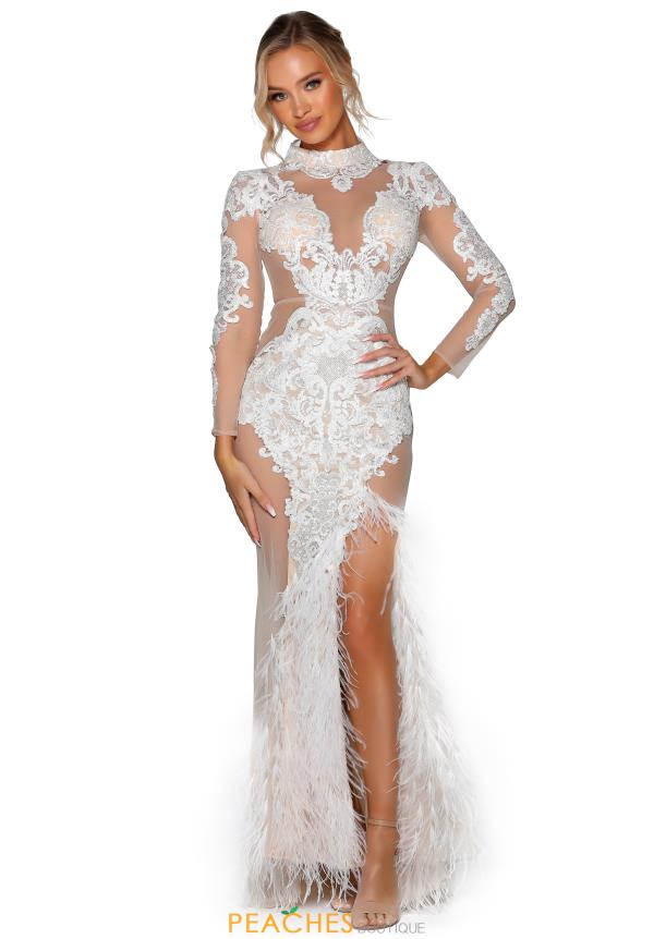 Portia and Scarlett Long Ivory Nude Prom Dress PSB6814