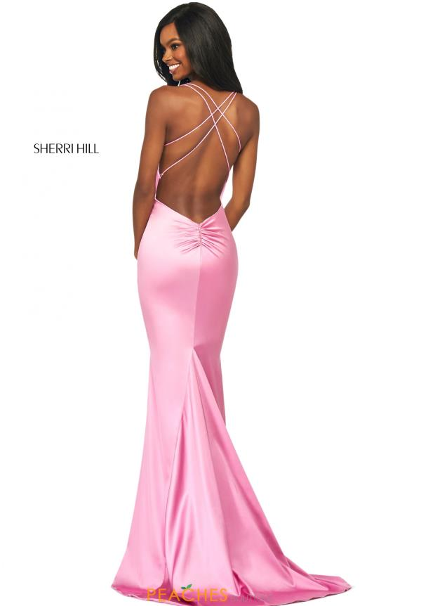 Sherri Hil V-Neck Satin Dress 53390