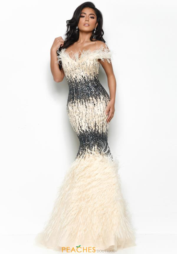 Jasz Couture Beaded Feather Dress 7012