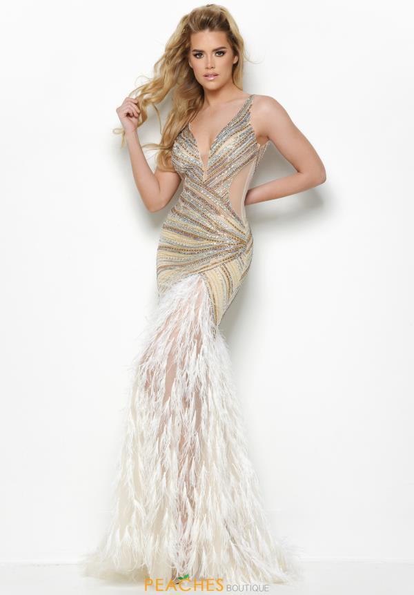 Jasz Couture Long Feather Dress 7021