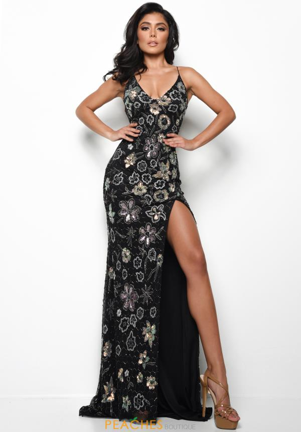 Jasz Couture Beaded Black Dress 7024