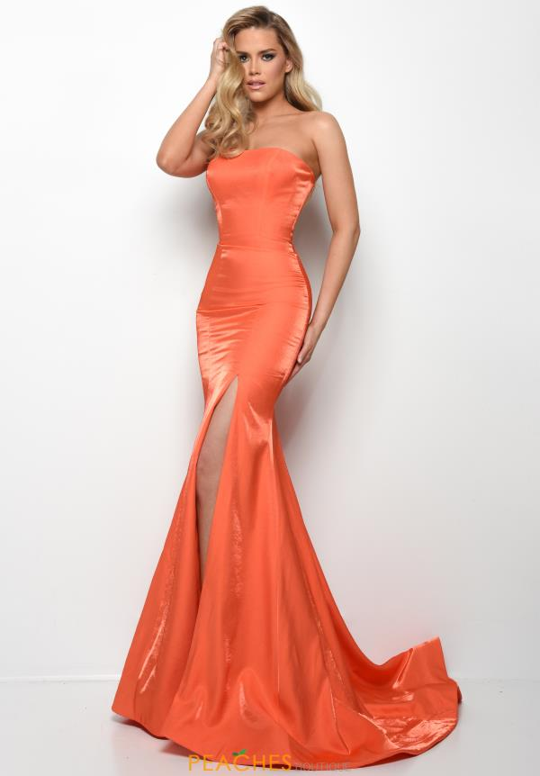 Jasz Couture Strapless Fitted Dress 7035