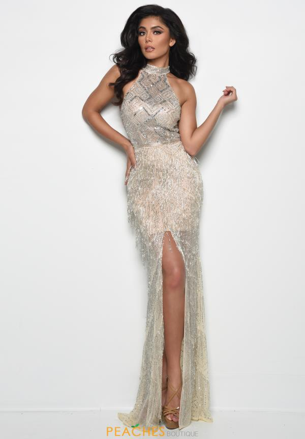 Jasz Couture Long Fringe Dress 7037