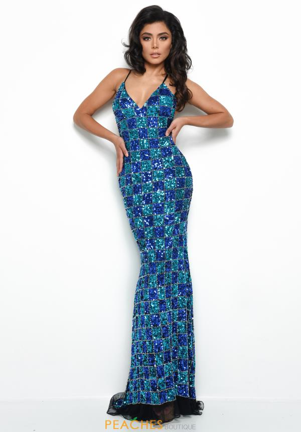 Jasz Couture Open Back Fitted Dress 7060