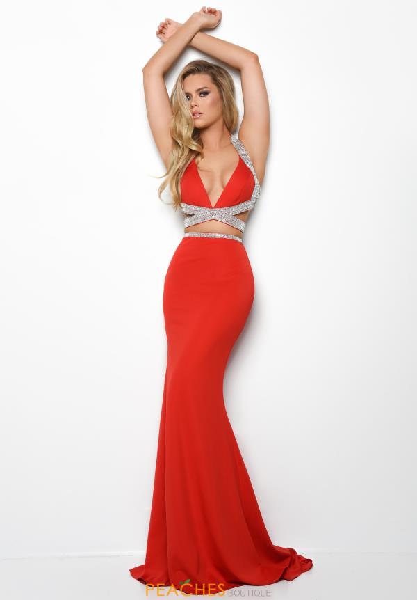 Jasz Couture V- Neckline Fitted Dress 7063