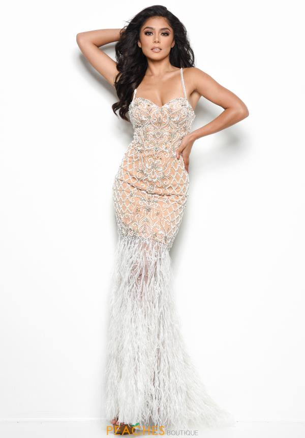Jasz Couture Feather Skirt Long Dress 7079