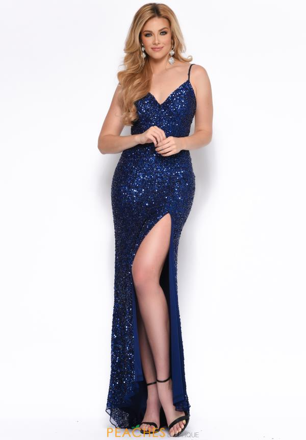 Jasz Couture V- Neckline Navy Dress 7157