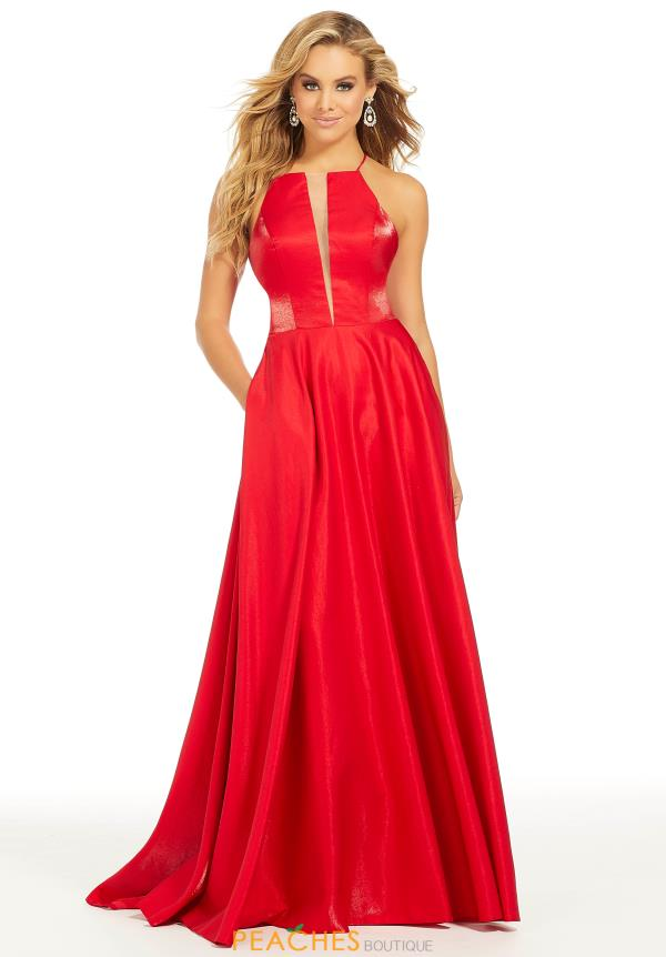 Just Peachy High Neckline Red Dress 41009