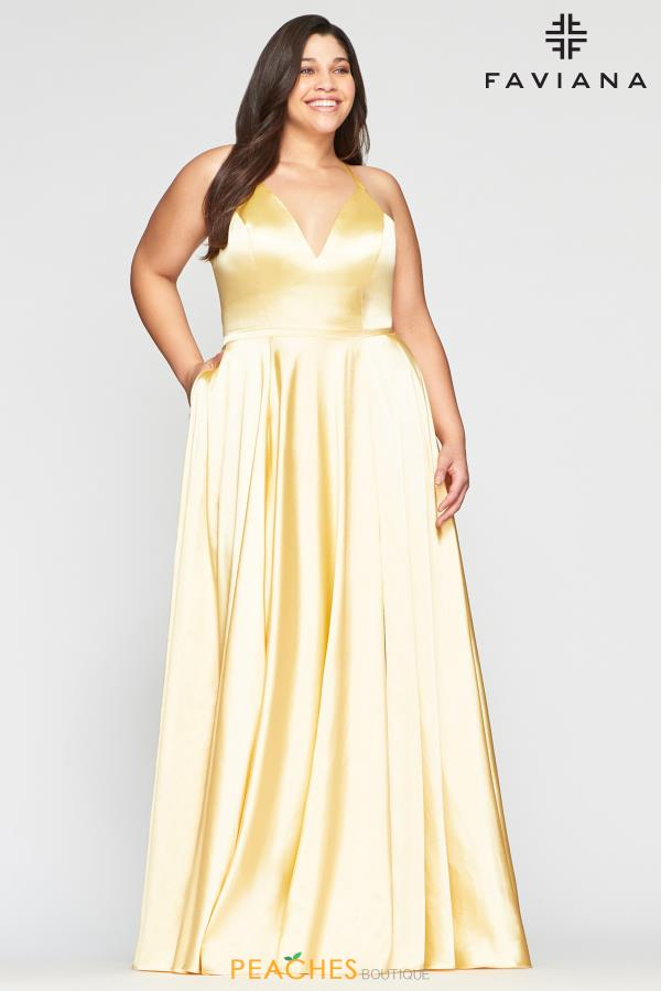 Faviana Plus Size Charmeuse A-Line Dress 9469