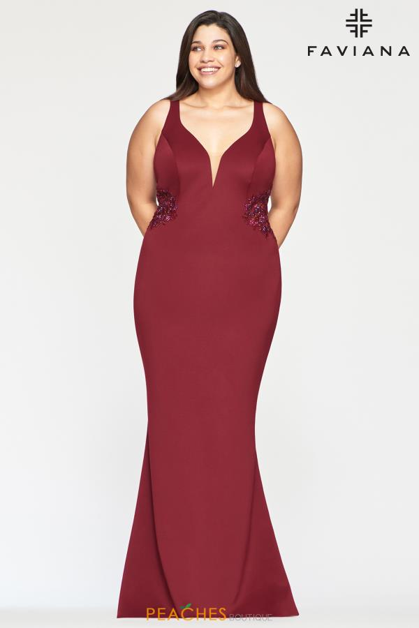 Faviana V- Neckline Fitted Dress 9492