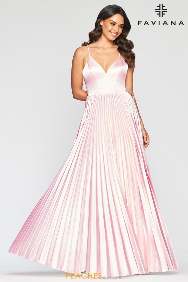 Faviana Long Pleated Dress S10404
