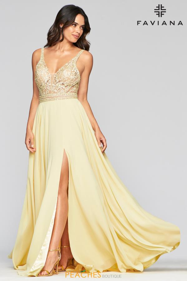 Faviana Beaded Long Dress S10414