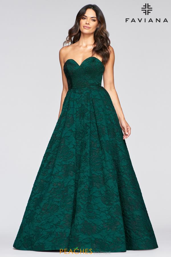 Faviana Green A Line Dress S10463