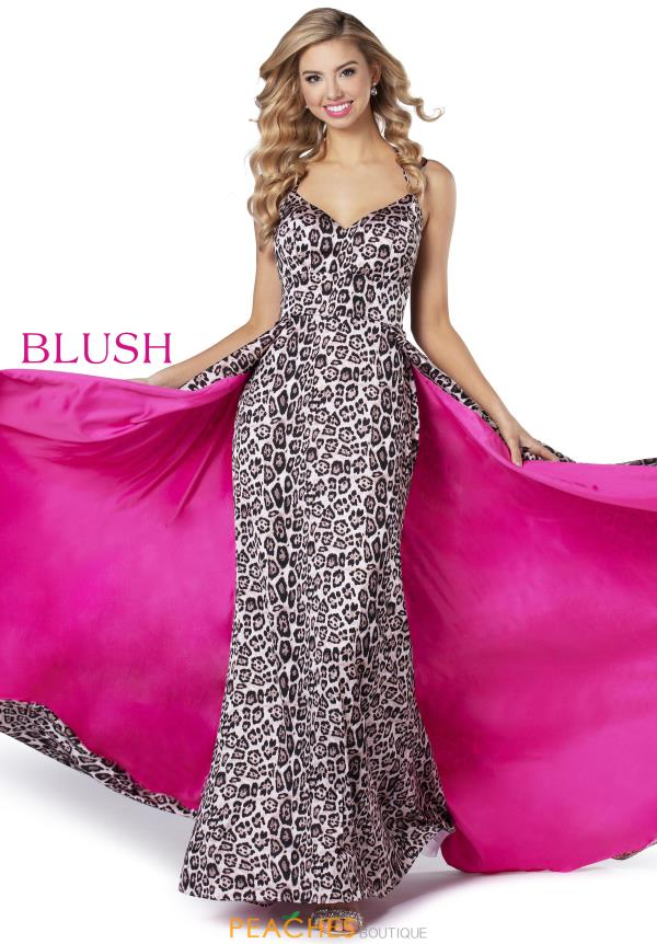 Blush V-Neck Satin Dress 11915