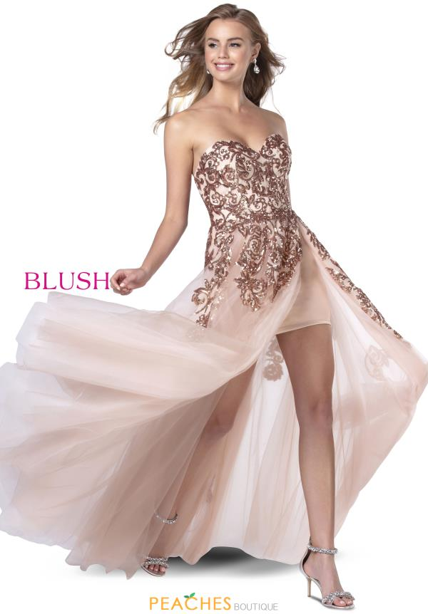Blush Strapless Sequins Dress 11919