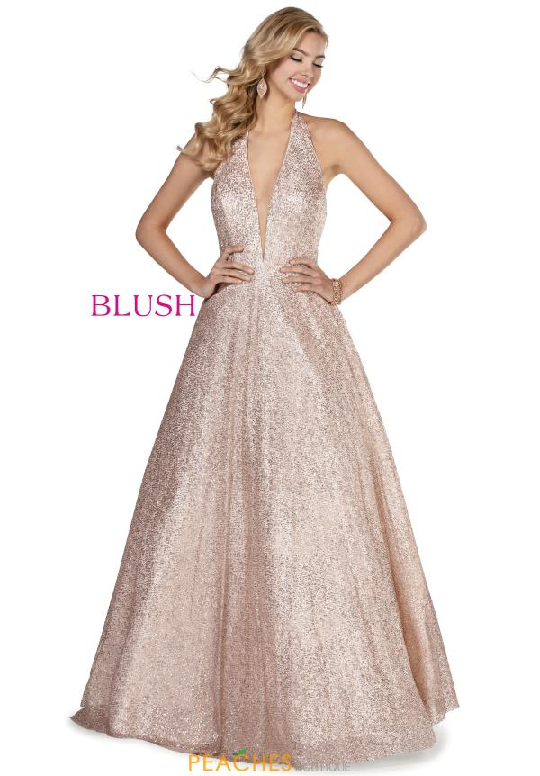 Blush Glitter Tulle Long Dress 11932