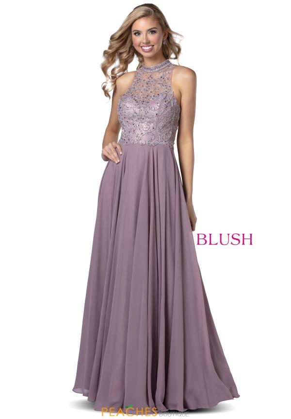 Blush High Neckline Beaded Dress 11942