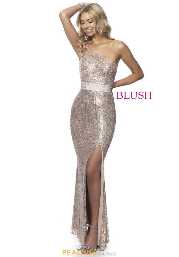 Blush Single Shoulder Sequins Dress 11955