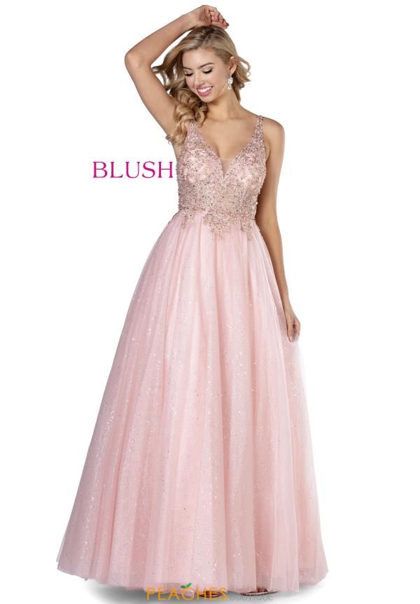 Blush V-Neck Beaded Dress 5814