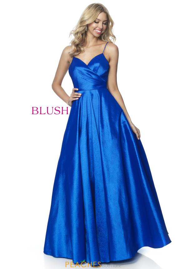 Blush Stretch Taffeta Long Dress 5830