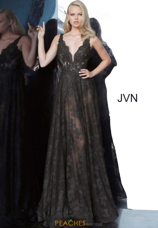 JVN by Jovani Black A Line Dress JVN00877