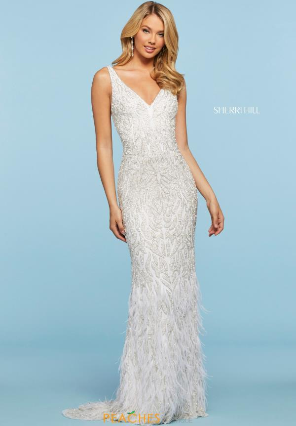 Sherri Hill Long Feather Dress 53367