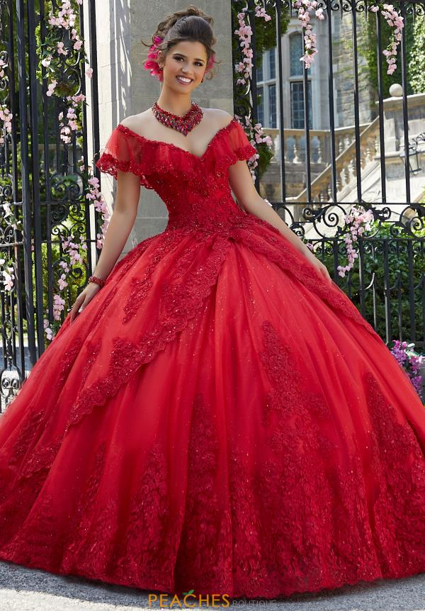 Vizcaya Quinceanera Cap Sleeved Lace Gown 34025
