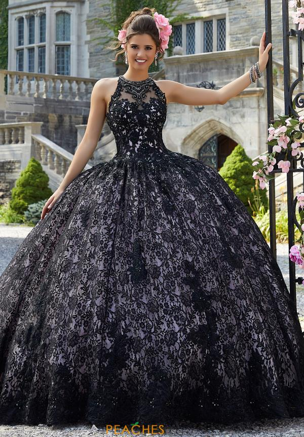 Vizcaya Quinceanera High Neckline Lace Ball Gown 34026