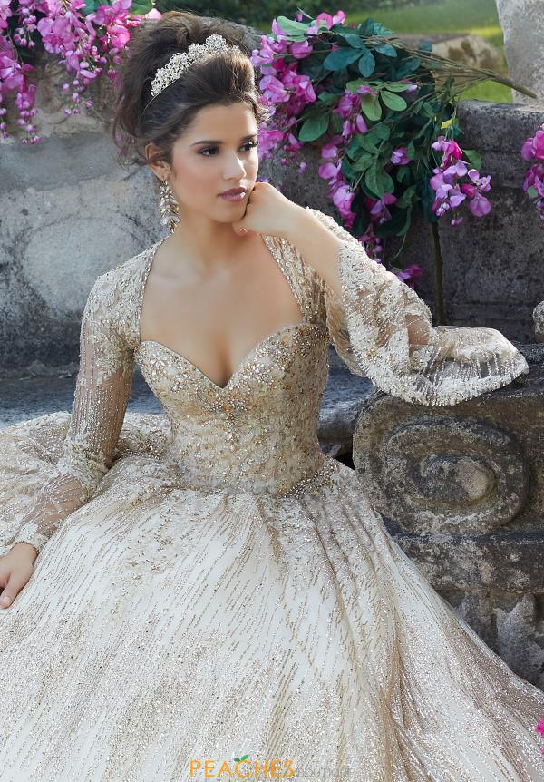 Vizcaya Quinceanera Bell Sleeved Beaded Gown 89268