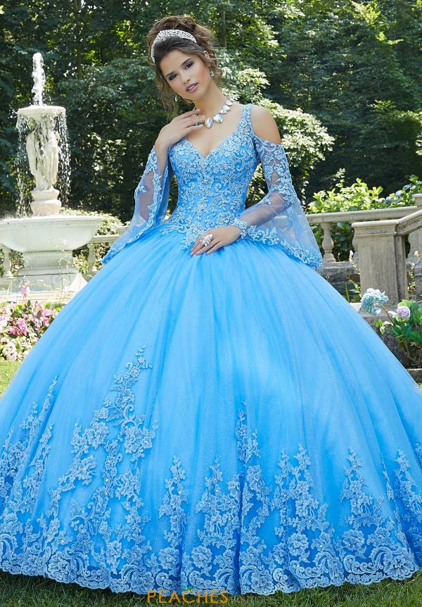 Vizcaya Quinceanera Beaded Bell Sleeve Gown 89270