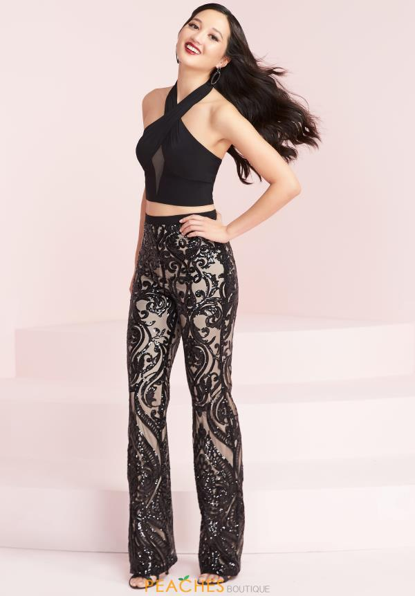 Panoply Black Sequins Pant Suit 14032