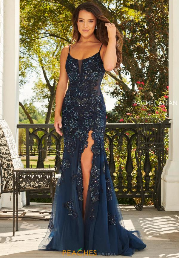 Rachel Allan Long Beaded Dress 7027