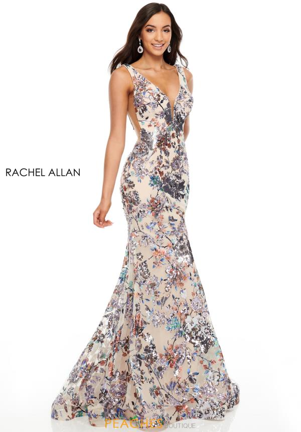Rachel Allan Long Beaded Dress 7045