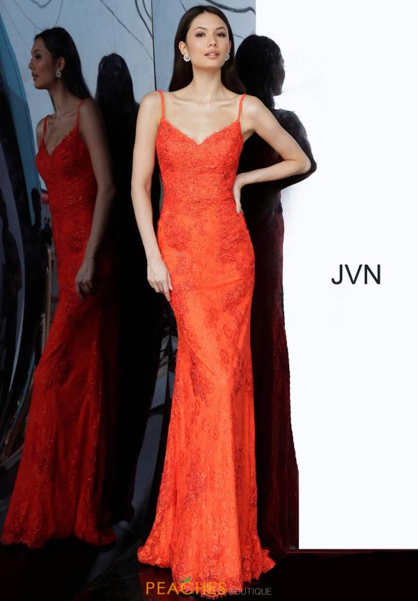 JVN by Jovani V-Neck Applique Dress JVN02013