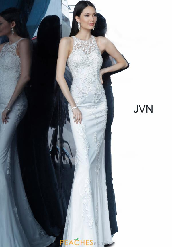 JVN by Jovani High Neckline Applique Dress JVN1289