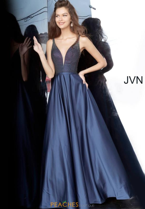 JVN by Jovani V-Neck Satin Dress JVN2469