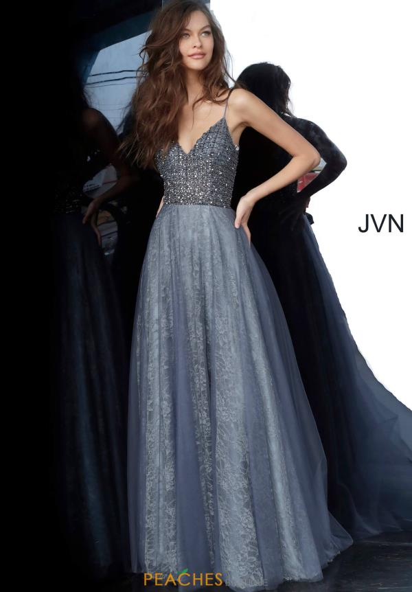 JVN by Jovani V-Neck Lace Dress JVN2550