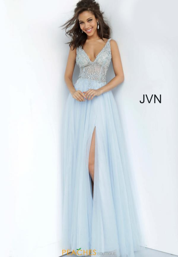 JVN by Jovani V-Neck Tulle Dress JVN4379