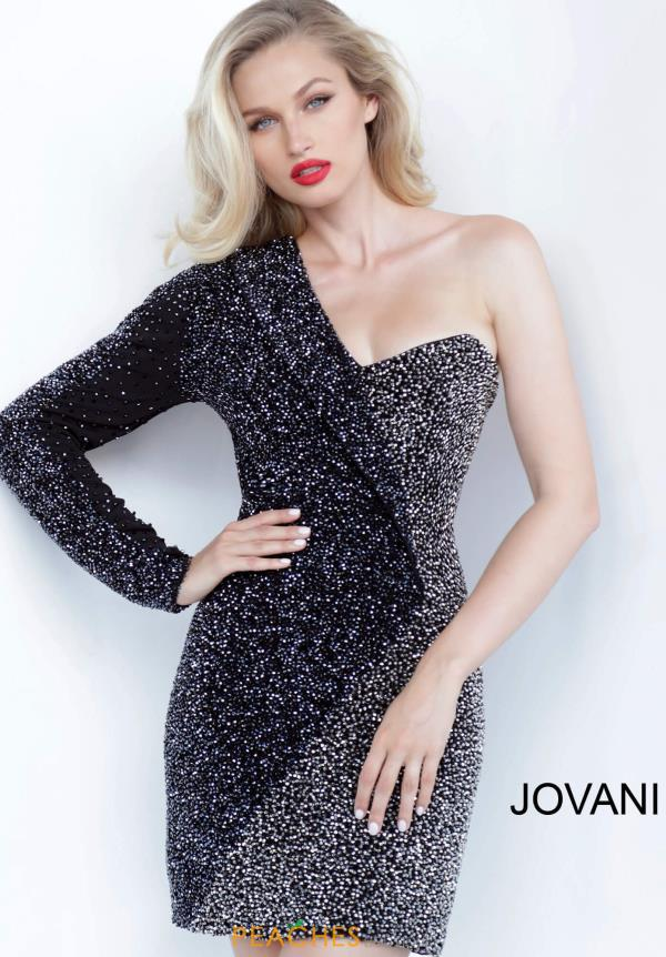 Jovani Short Black Fitted Dress 3731