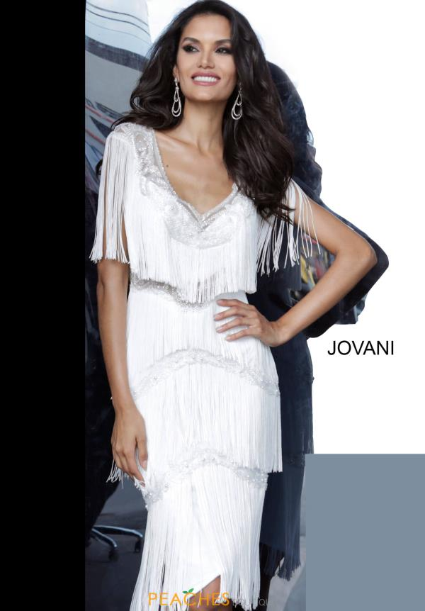 Jovani Short Sleeved Fringe Dress 66002