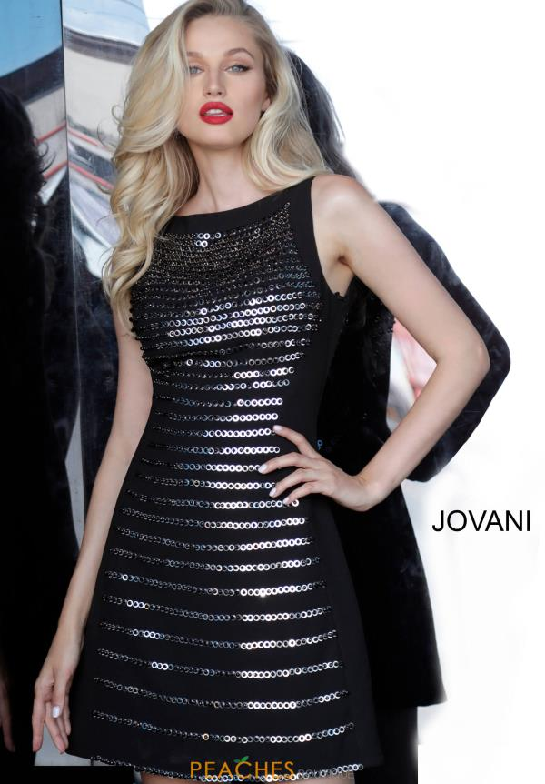 Jovani Short High Neckline Black Dress 66372