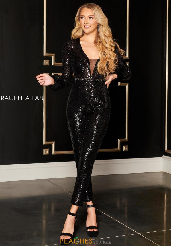 Rachel Allan Beaded Jumpsuit Dress L1279