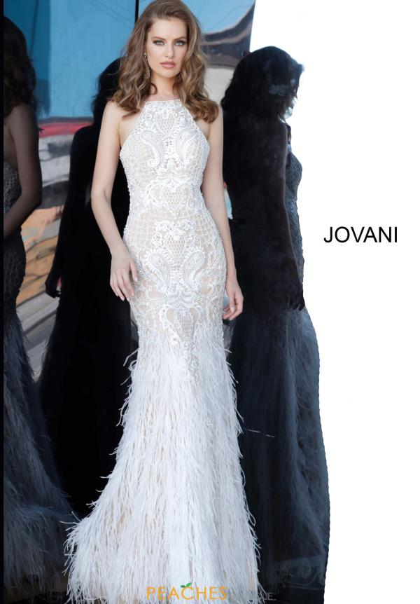 Jovani Long Feather Dress 68300