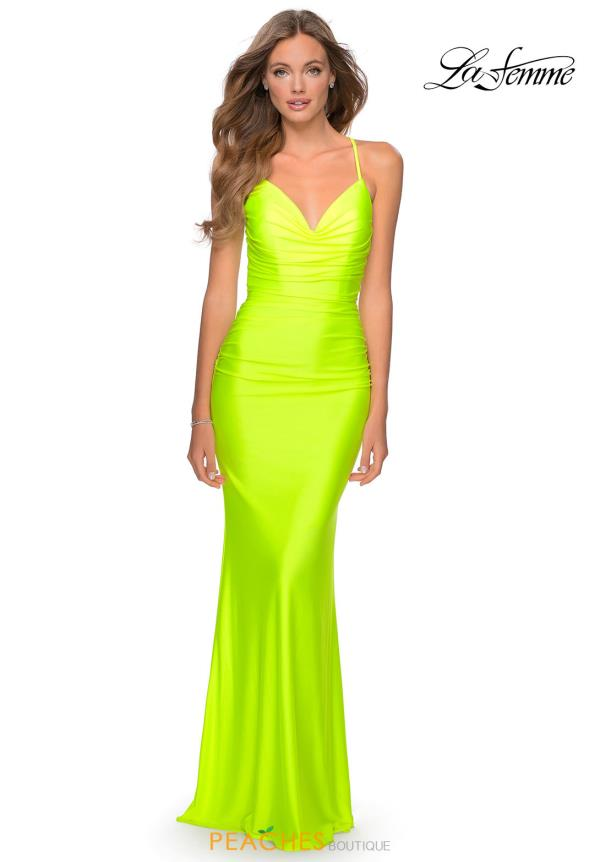 La Femme Long Fitted Dress 29020