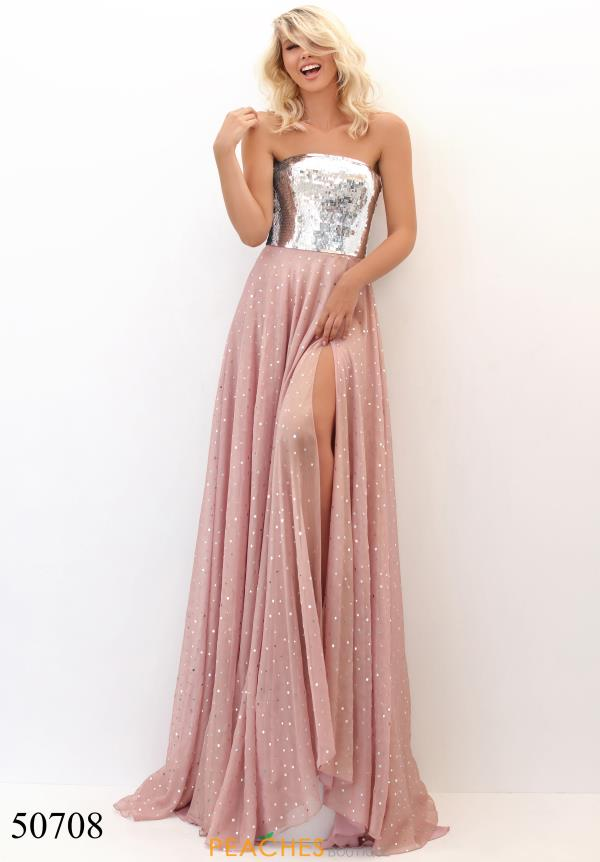Tarik Ediz Beaded Strapless Dress 50708