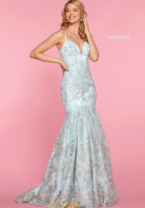 Sherri Hill V-Neck Applique Dress 52996